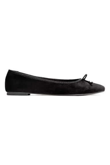 Suede ballet pumps - Black - Ladies | H&M 1